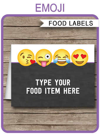 Emoji Party Food Labels Emoji Place Cards Emoji