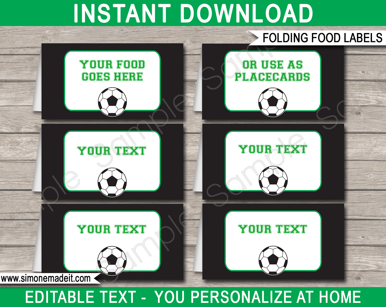 soccer party food labels template green