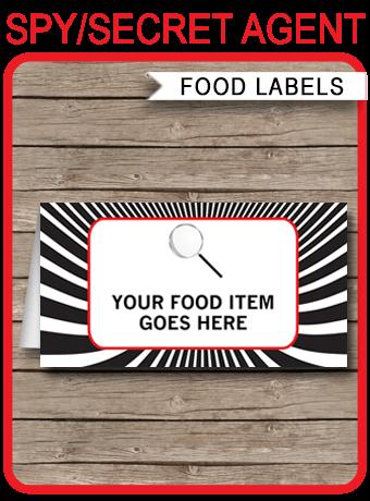 Spy Party Food Labels Place Cards Secret Agent