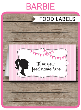 Barbie Party Food Labels Place Cards Barbie Theme Party