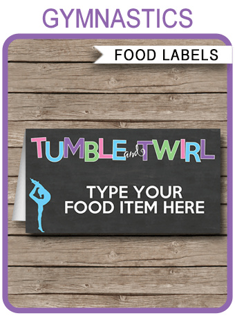 Gymnastics Party Food Labels Place Cards Gymnastics Theme