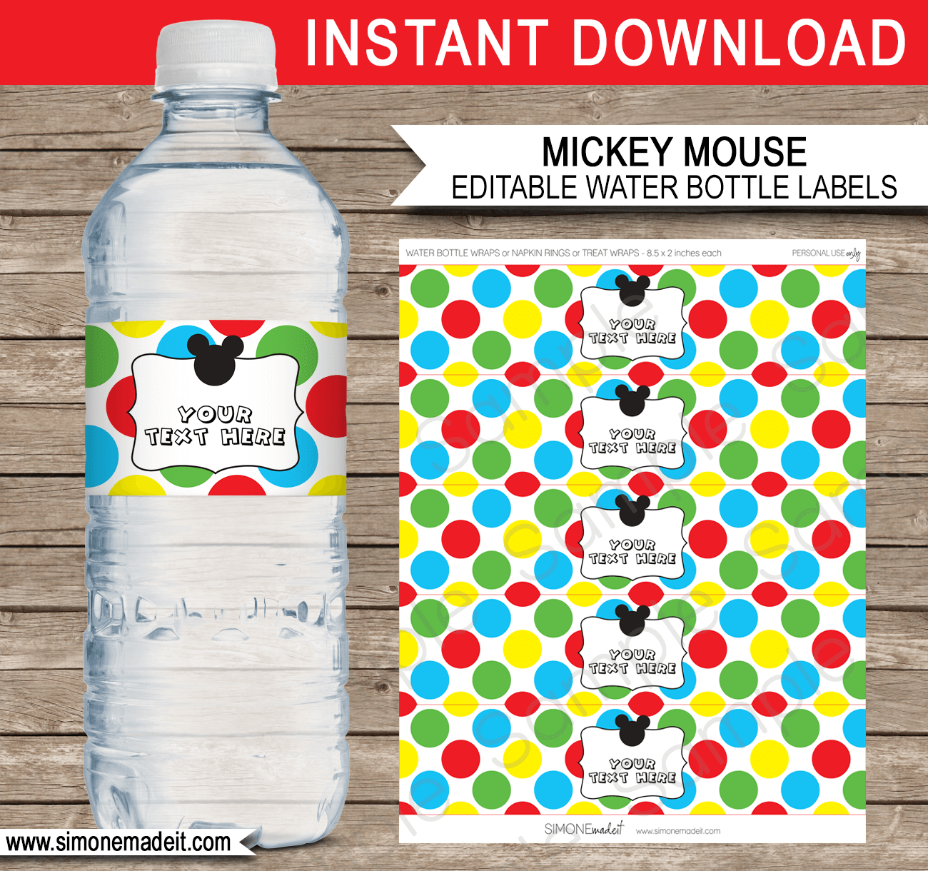 Mickey Mouse Party Water Bottle Labels