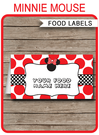 Minnie Mouse Theme Food Labels Place Cards Minnie