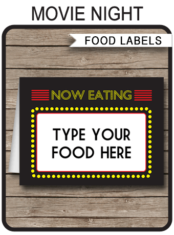 Printable Movie Party Food Labels Place Cards Movie
