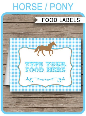 Horse Theme Food Labels Place Cards Blue Pony Birthday