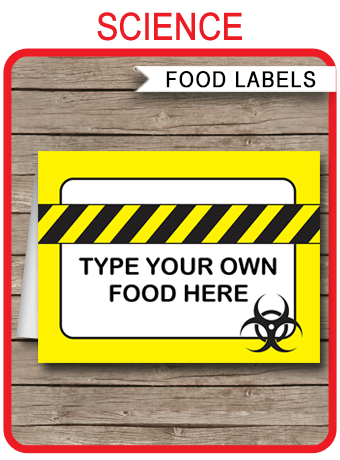 Science Party Food Labels Place Cards Science Party
