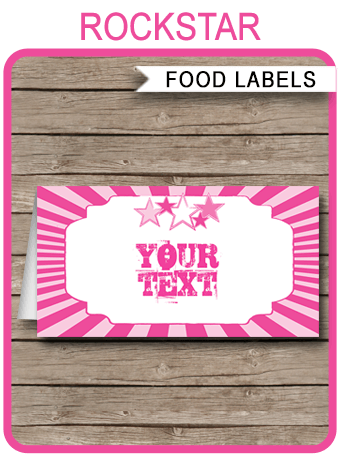 Rockstar Party Food Labels Place Cards Rock Star Theme