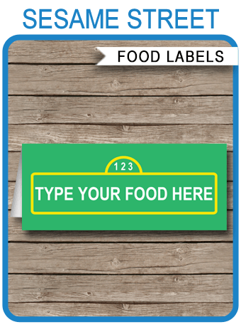 Sesame Street Party Food Labels Place Cards Sesame