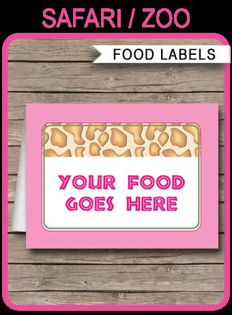 Girls Safari Theme Food Labels Place Cards Printable