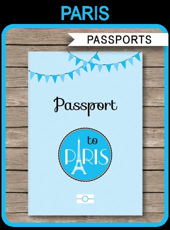paris passport invitations template with photo blue