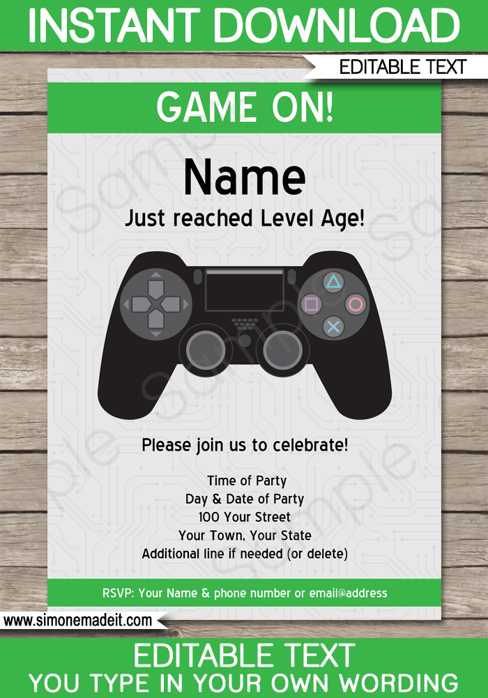 playstation party invitations template green