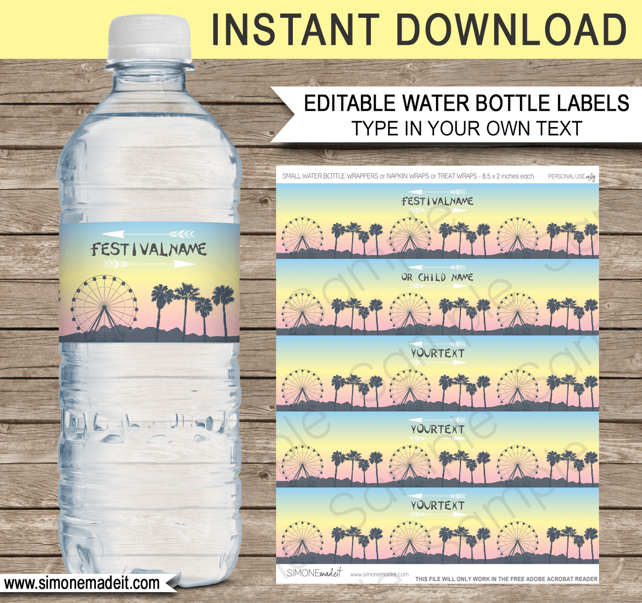 Coachella Themed Party Water Bottle Labels