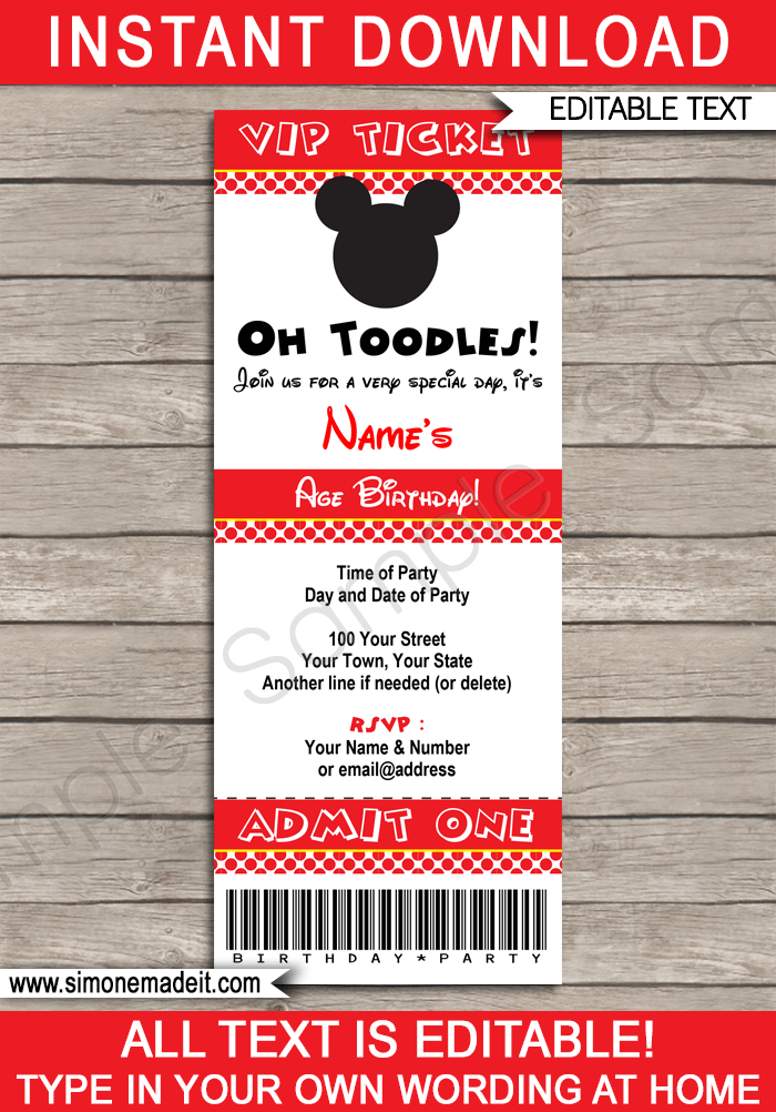 mickey mouse ticket invitation template red dots