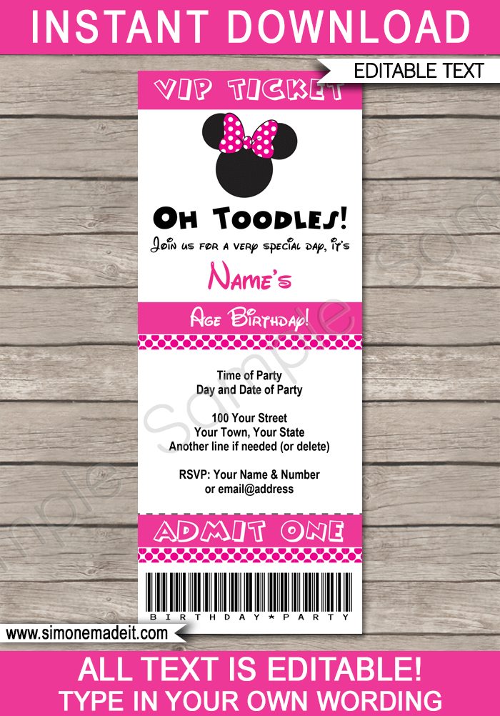minnie mouse ticket invitation template pink