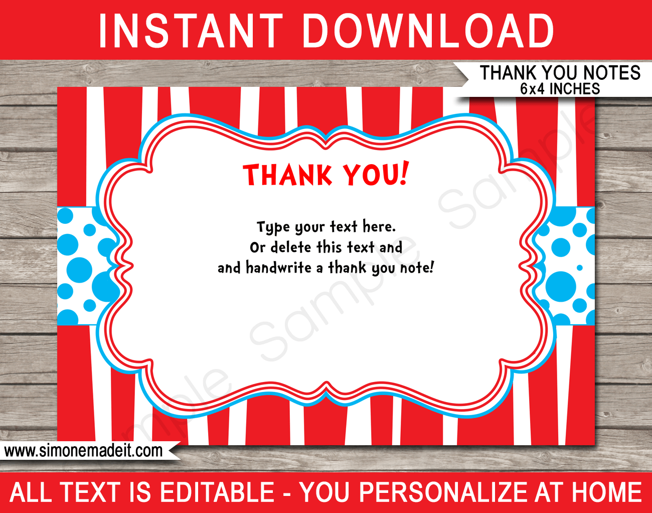 dr seuss party thank you cards template