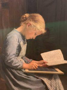 Albert Anker, Appliquée 1868, huile sur toile