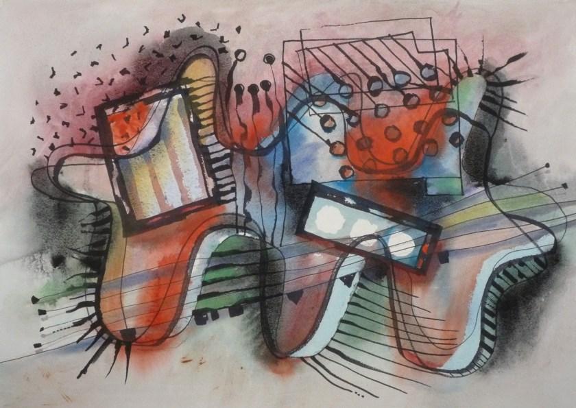 Rhythm-an-green-an-red, watercolour, gouache, felt-pen and pencil on paper, A2 size