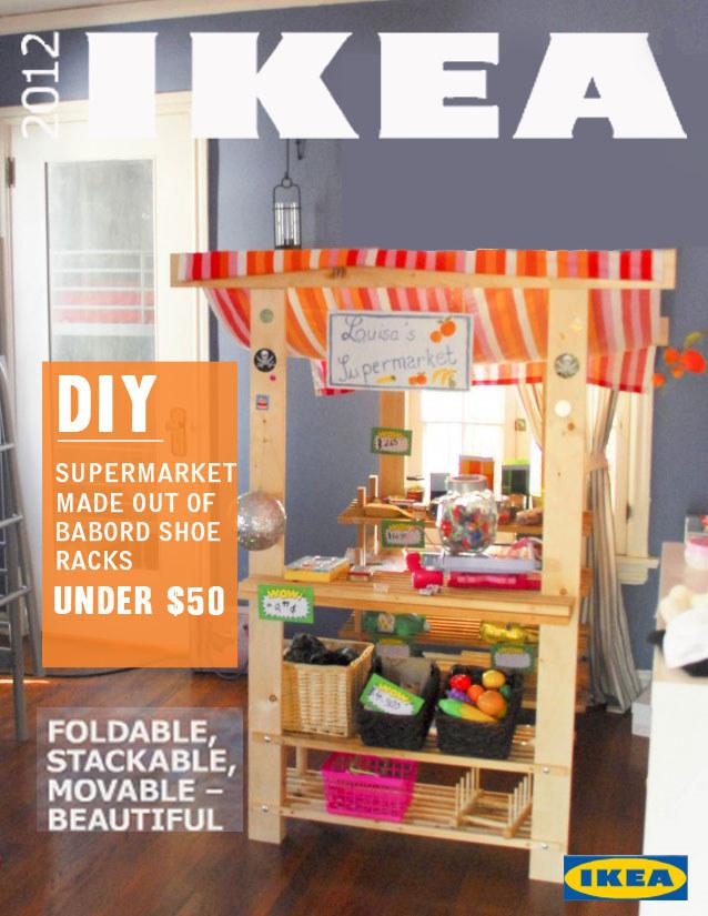 19 Turn a shoe rack into a play supermarket via simphome