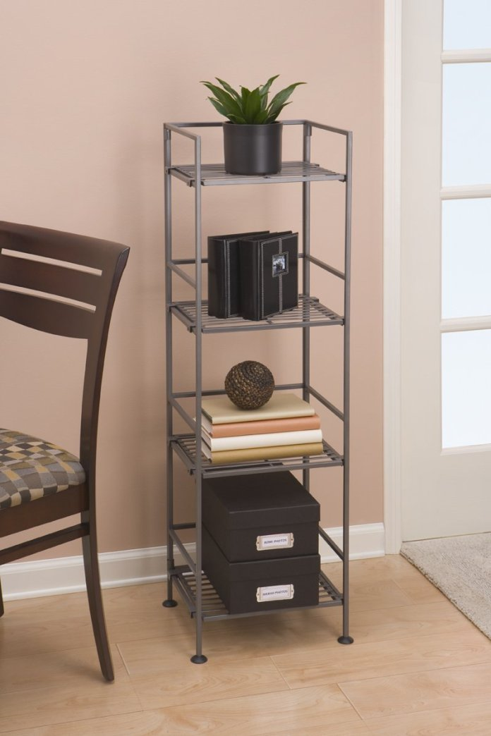 2 Seville Classics 4 Tier Iron Square Tower Shelving via simphome 3