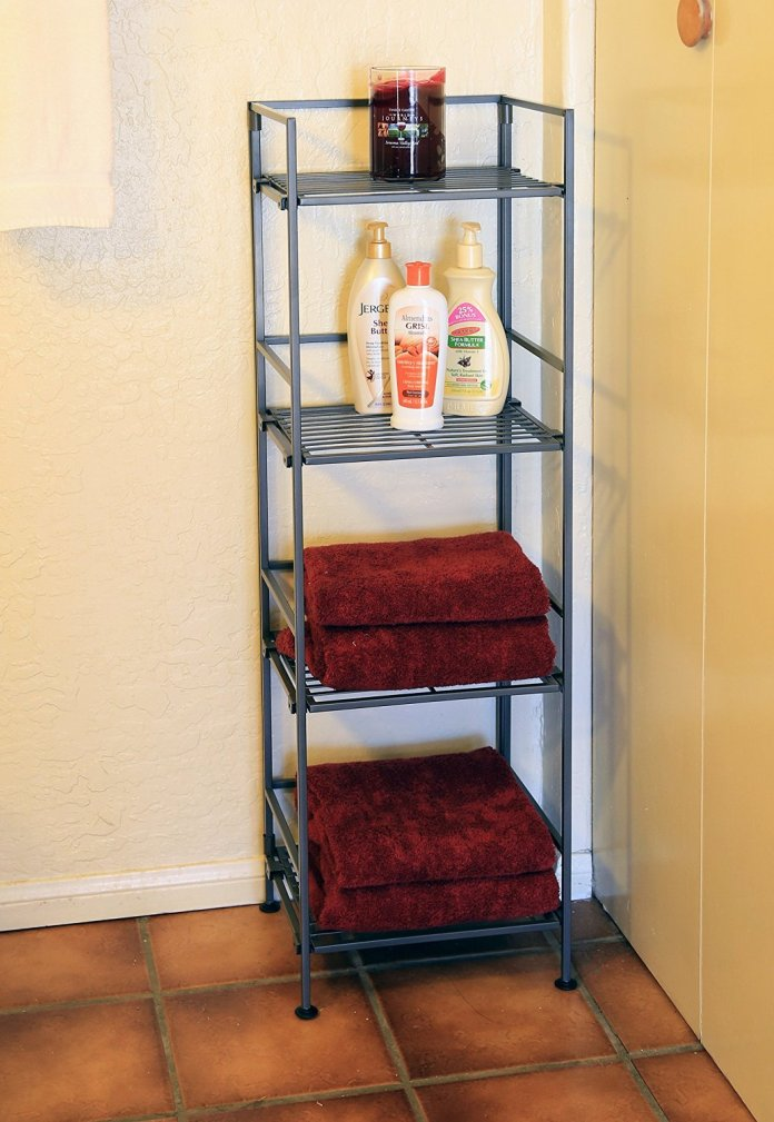 2 Seville Classics 4 Tier Iron Square Tower Shelving via simphome 7
