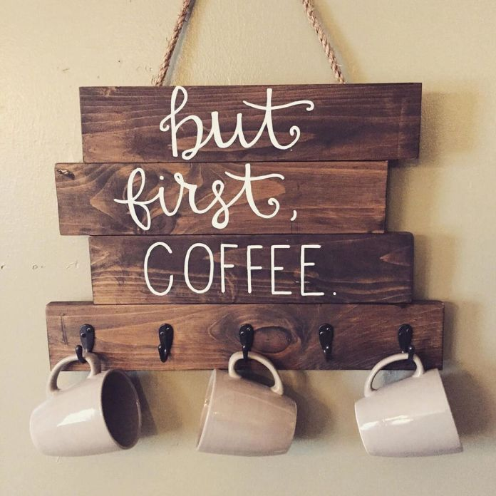 Wooden structure coffee mug display