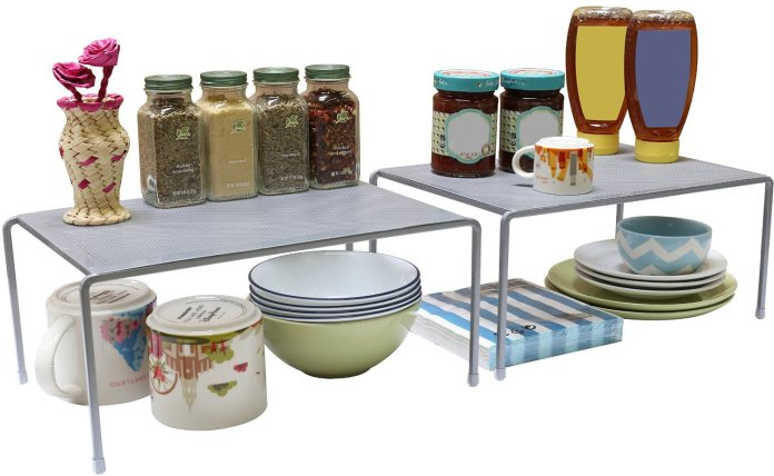 DecoBros Expandable Stackable Kitchen Cabinet and Counter Shelf Organizer via simphome 1