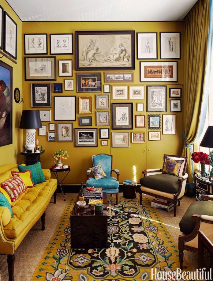 yellow wall with artwor