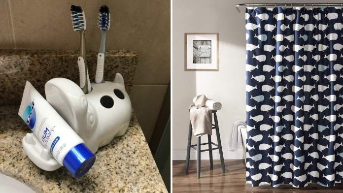 simphome - toothbrush holder whale curtain