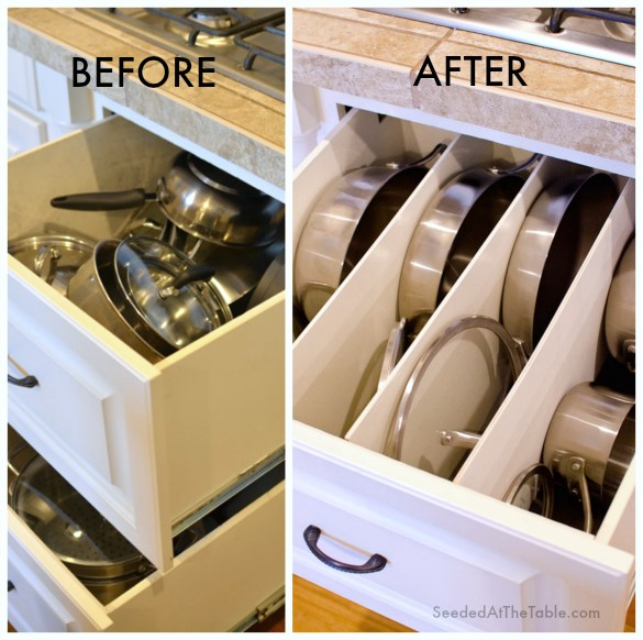 Organizing a Pots and Pans Drawer with Dividers simphome com