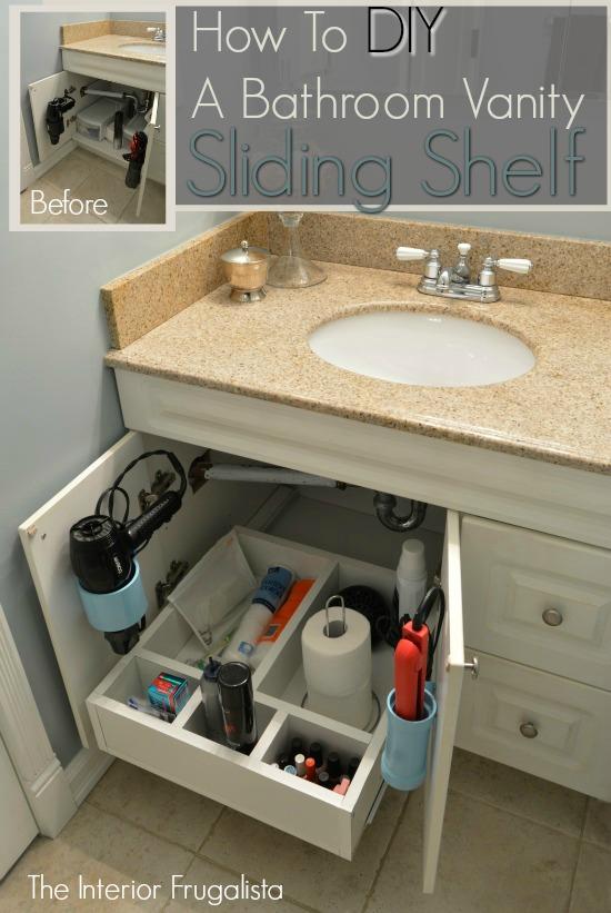 13 How To Build A Bathroom Vanity Sliding Shelf Simphome com