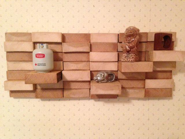 wooden blocked shelves