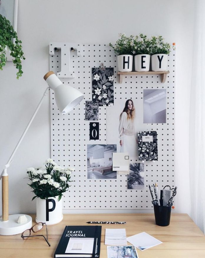 Use pegboard to store your stuff.