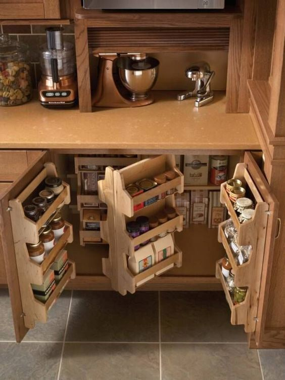292 Space Saving Ideas and clever Kitchen Storage idea via Simphome