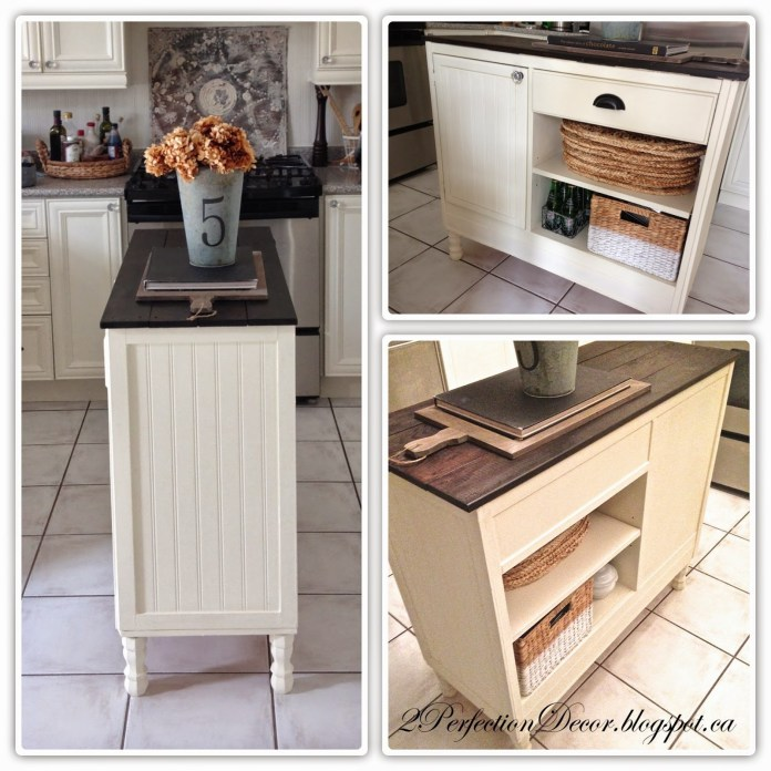 35 223 Working Table to Kitchen Island Beadboard kitchen island with open shelves and plank wood top by 2Perfection Decor featured on @Remodelaholic and @Simphome