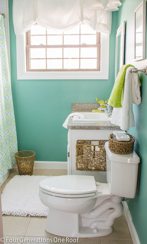 4 Teal Bathroom with A Bit of Textural Element Simphome