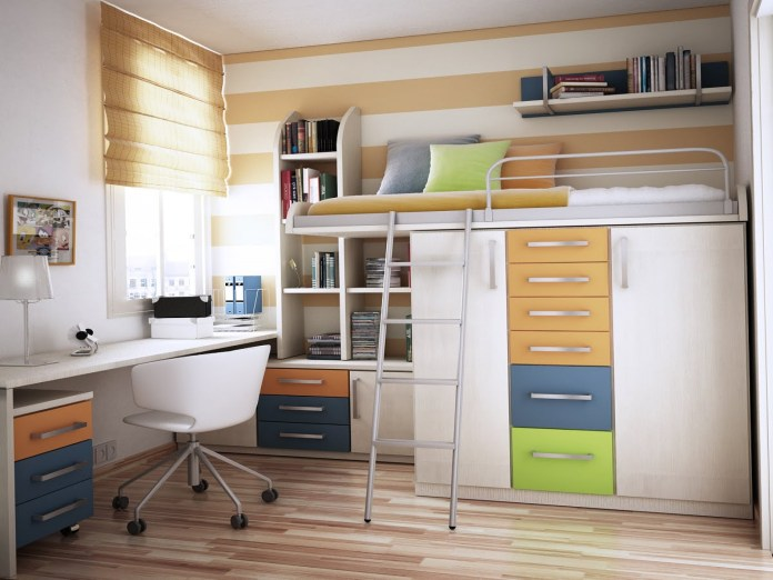 7 A Loft Bed on the Wardrobes via simphome