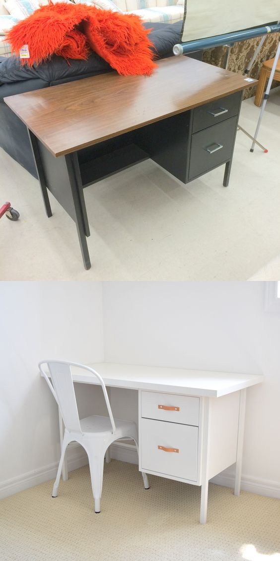 1 Use scrap leather to make pretty modern drawer pulls via simphome