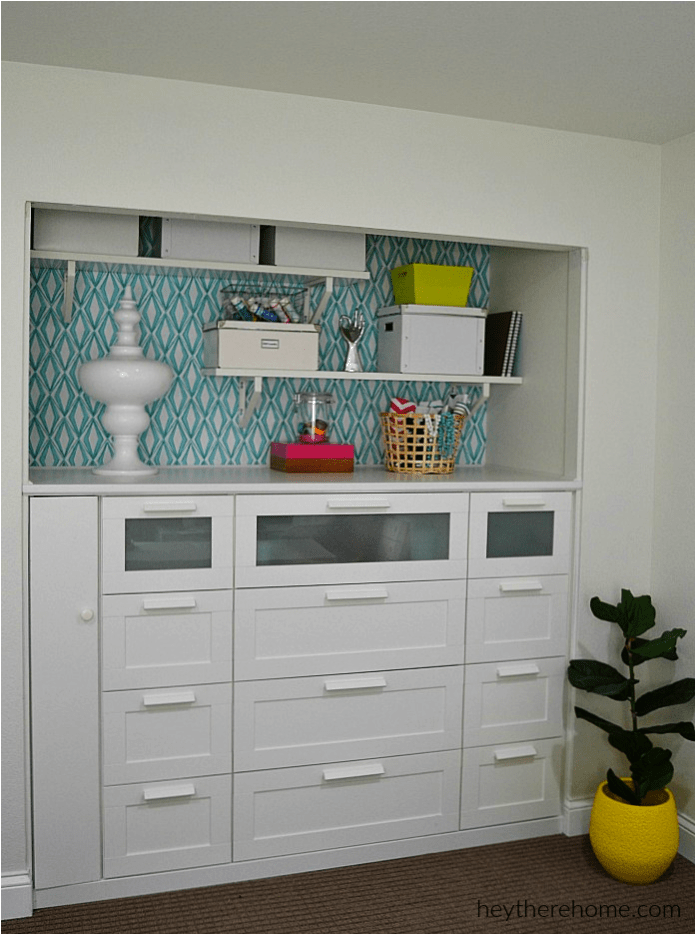 5 A nice built in shelves from 3 IKEA Brimnes Dressers via simphome