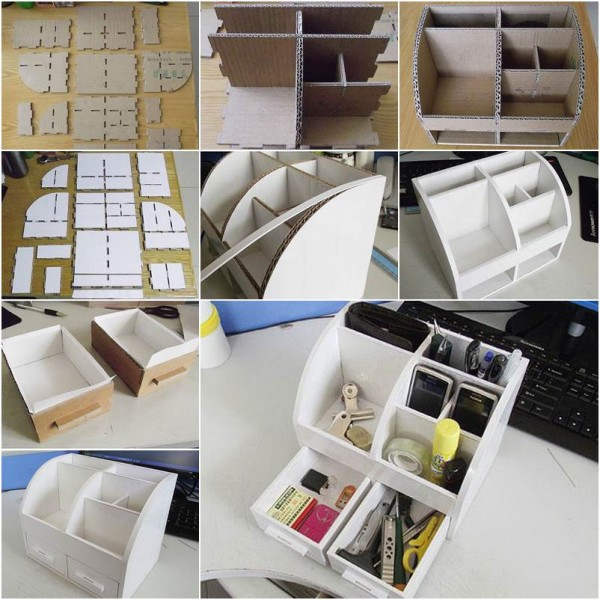 6 DIY Cardboard Desktop Organizer with Drawers via simphome