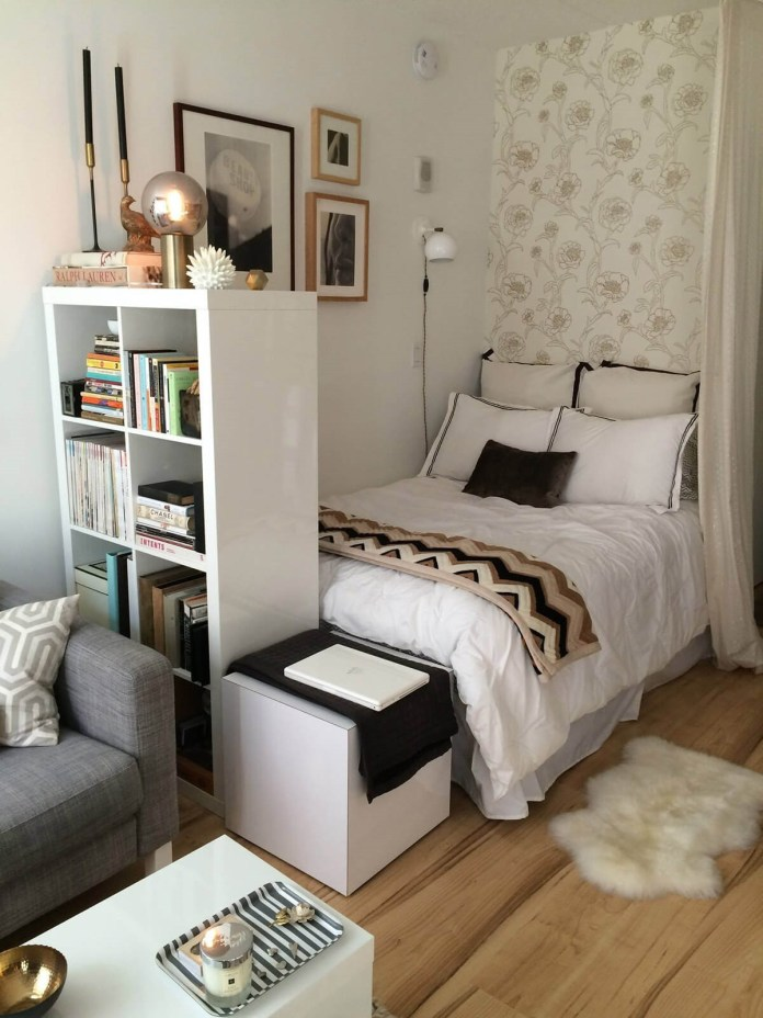 10 Use Curtains and Shelf as Room Dividers via simphome