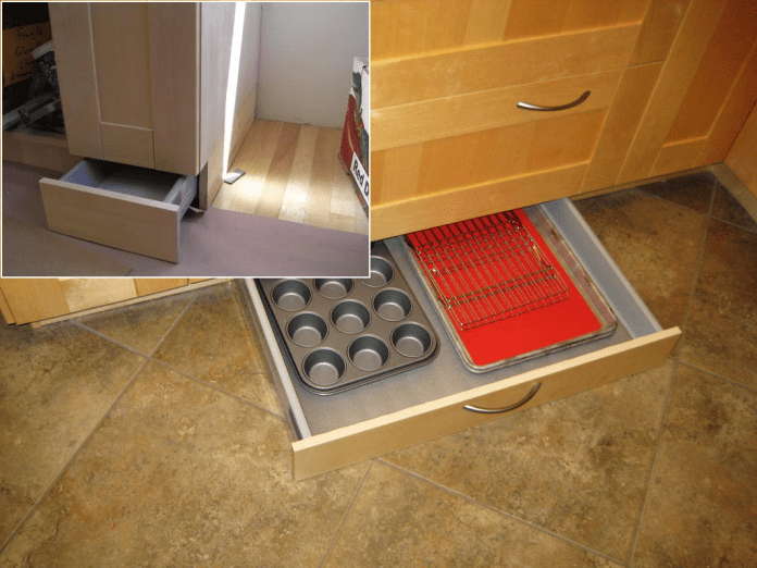 37 Hack your Ikea kitchen cabinets to include a toe kick drawer via simphome