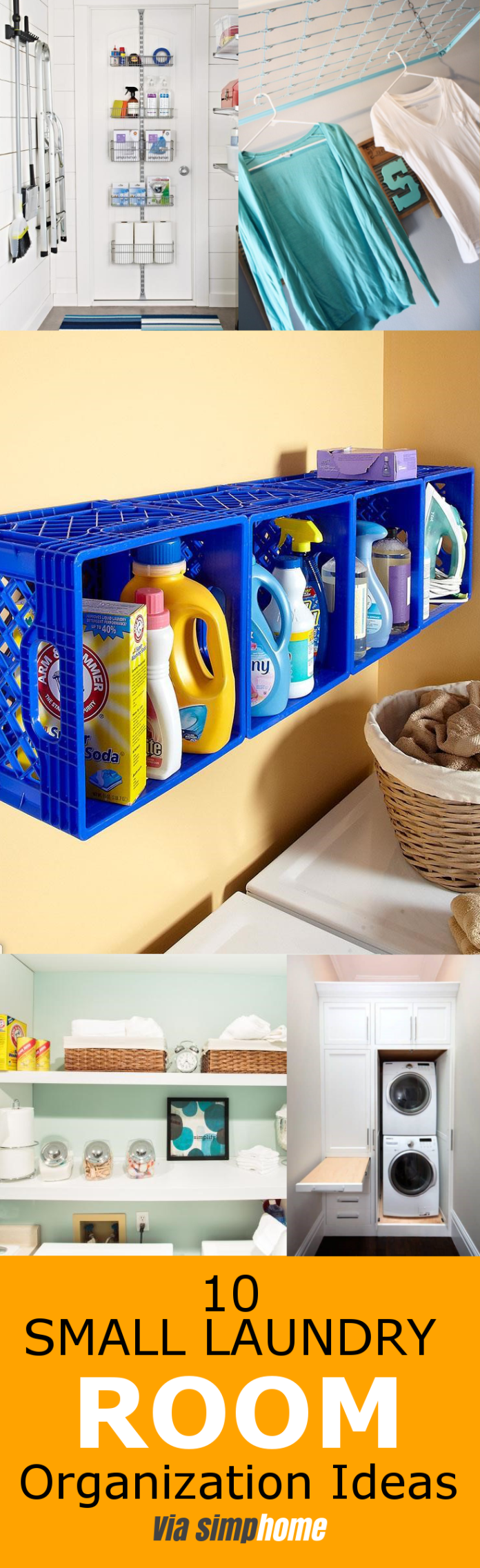 10 Small Laundry Room Organization Ideas via simphome featured pinterest 1