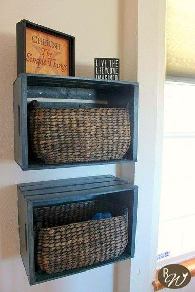 4 Stylish Wooden Crate Shelves via Simphome