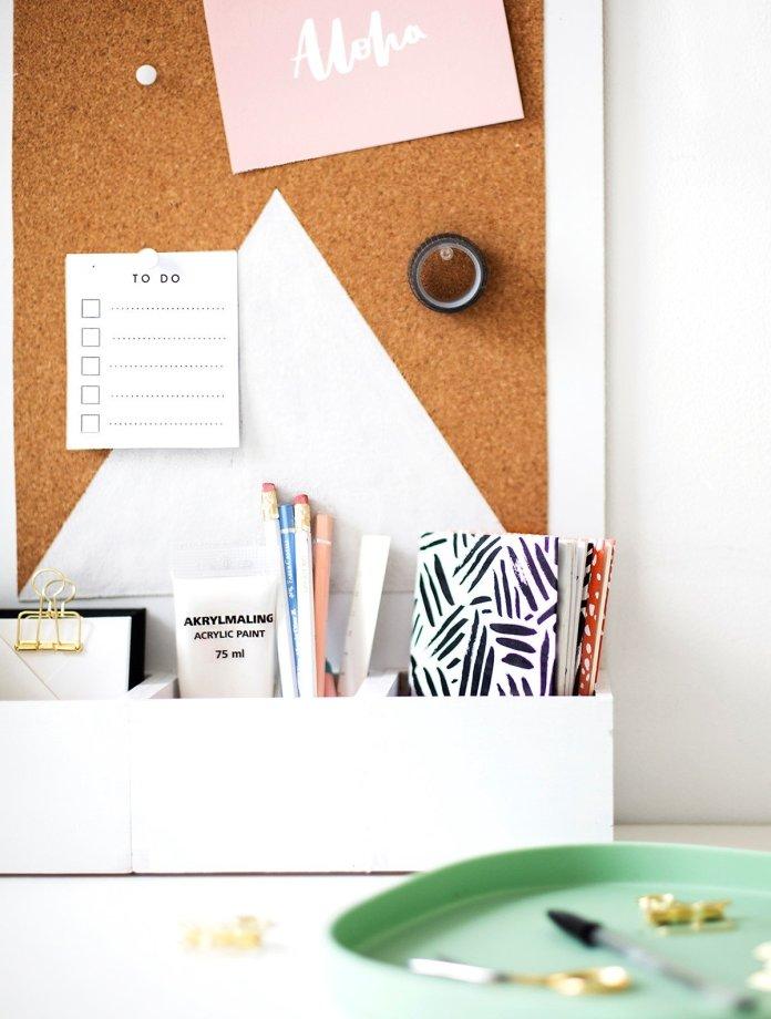 8 Corkboard Desk Organizer via Simphome