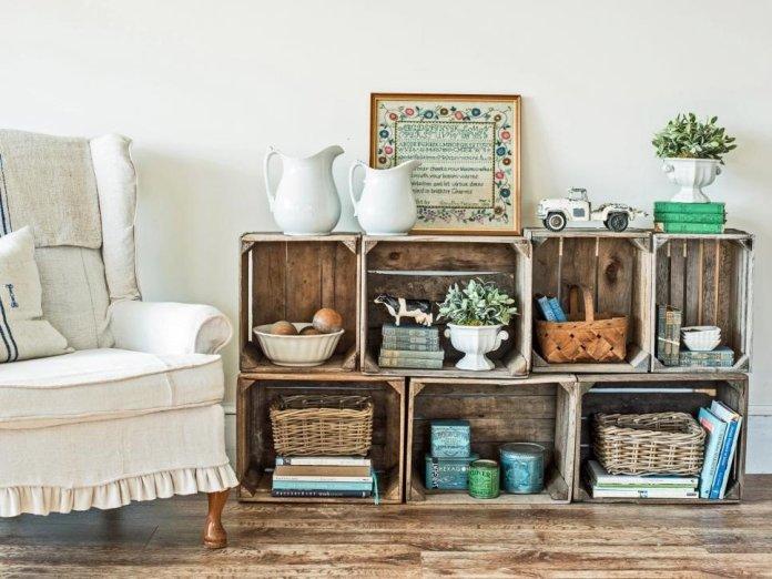 9 Wooden Crate Shelves via Simphome