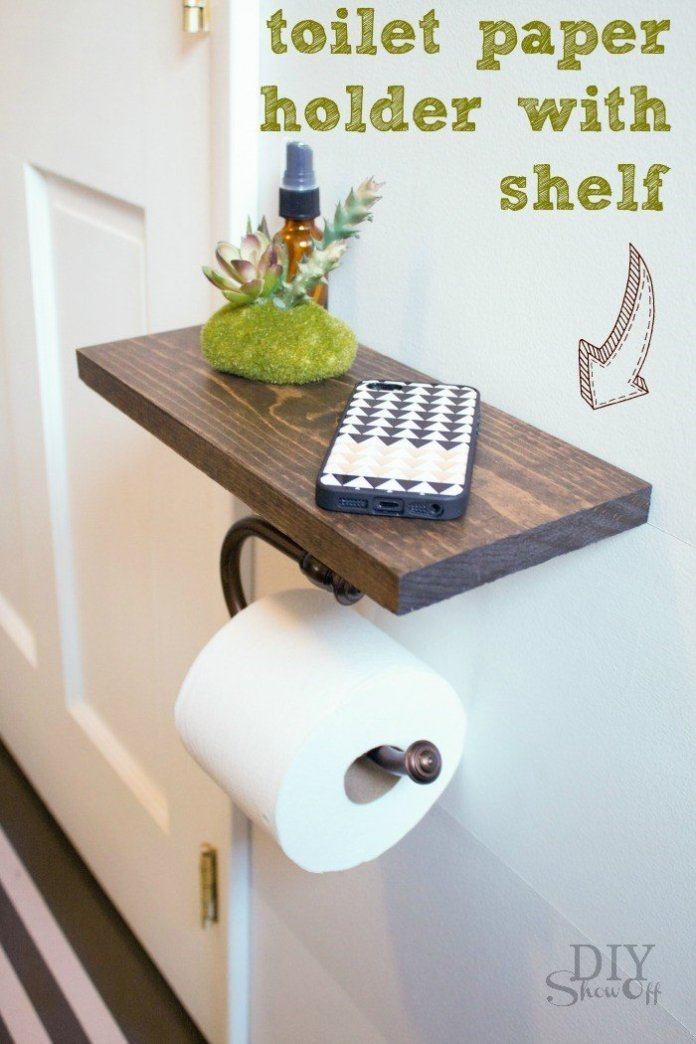 6. A Wall Mounted Shelf with extra Toilet Paper Holder via simphome