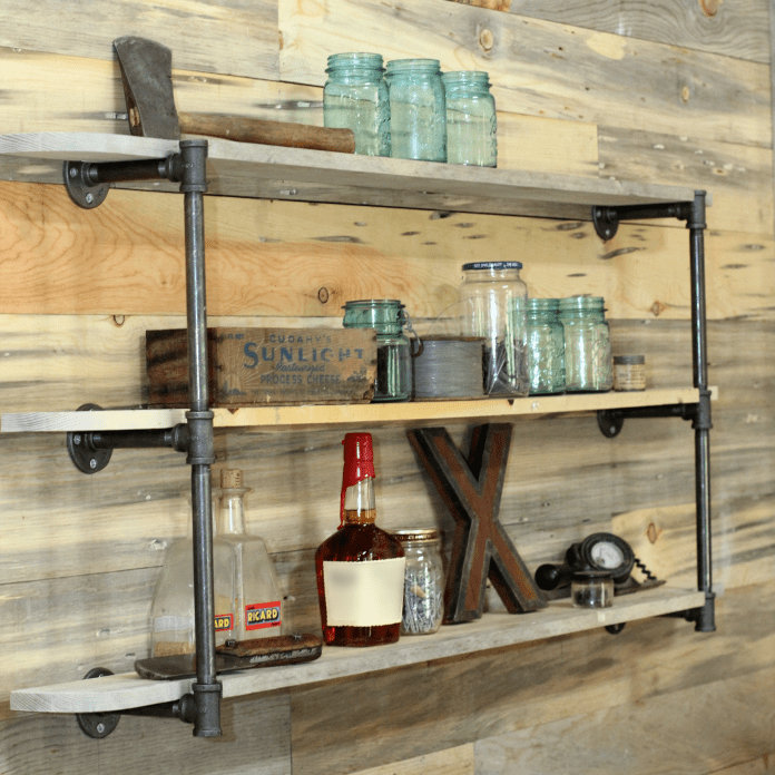 1. Industrial Wall Mounted Shelf via Simphome