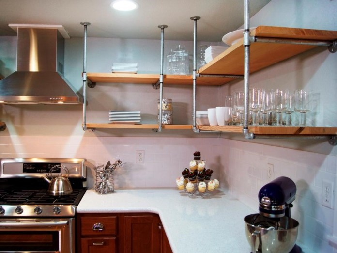 10. Industrial Style Shelves via Simphome