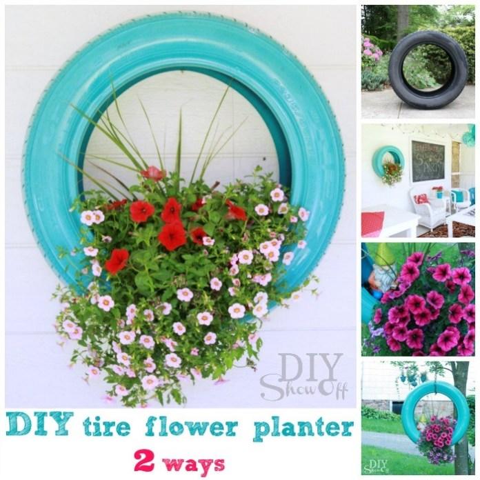 3. Tire Planter via Simphome