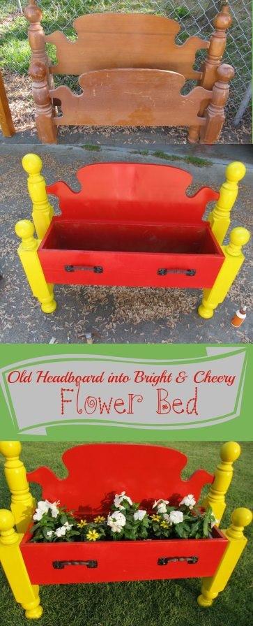 9. DIY Headboard Flower Bed via Simphome